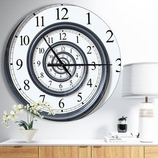 Designart Time Spiral Analog Wall Oversized Contemporary Wall Clock Contemporary Wall Clock Outdoor Wall Clocks Metal Wall Clock