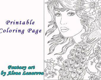 Printable Coloring Page Line Art Illustration Fairy Etsy Coloring Pages Printable Coloring Pages Line Art