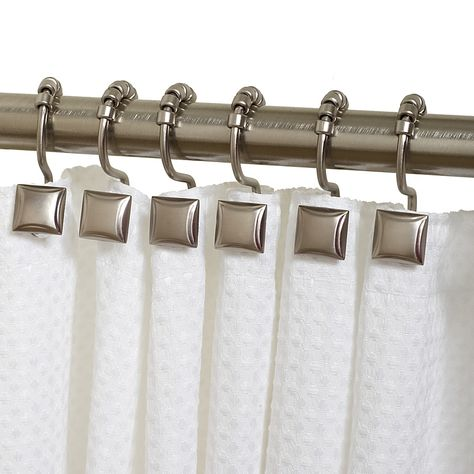 Zenna Home Verdanza Metal Square Roller Shower Curtain Hooks In