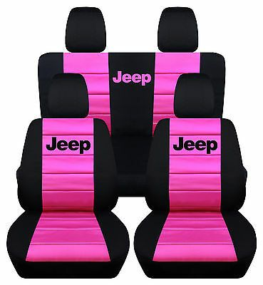 Complete Set Front Rear In Black Hot Pink With Jeep Logo Seat Covers Do Pink Jeep Accessories Jeep Wrangler Accessories Jeep Wrangler Unlimited Accessories
