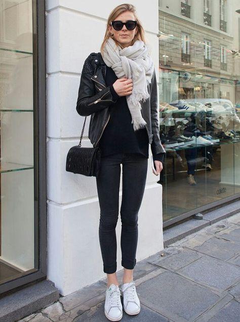 cropped black denim, black tee, moto/leather jacket, white sneakers, big scarf