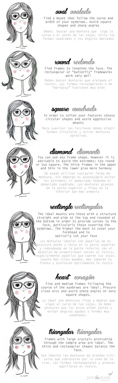 WHAT KIND OF GLASSES YOU MUST USE ACCORDING TO YOUR FACE SHAPE? / QUE TIPO DE GAFAS USAR SEGÚN LA FORMA DE TU ROSTRO?