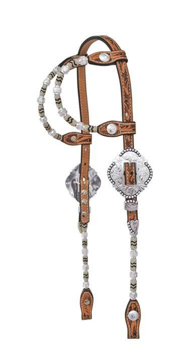 Light Oil Leather Fine Silver Ferrule Western Silver Show Headstall