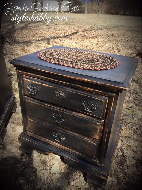 Distressed Furniture Painting, How To Paint Brown Furniture Black