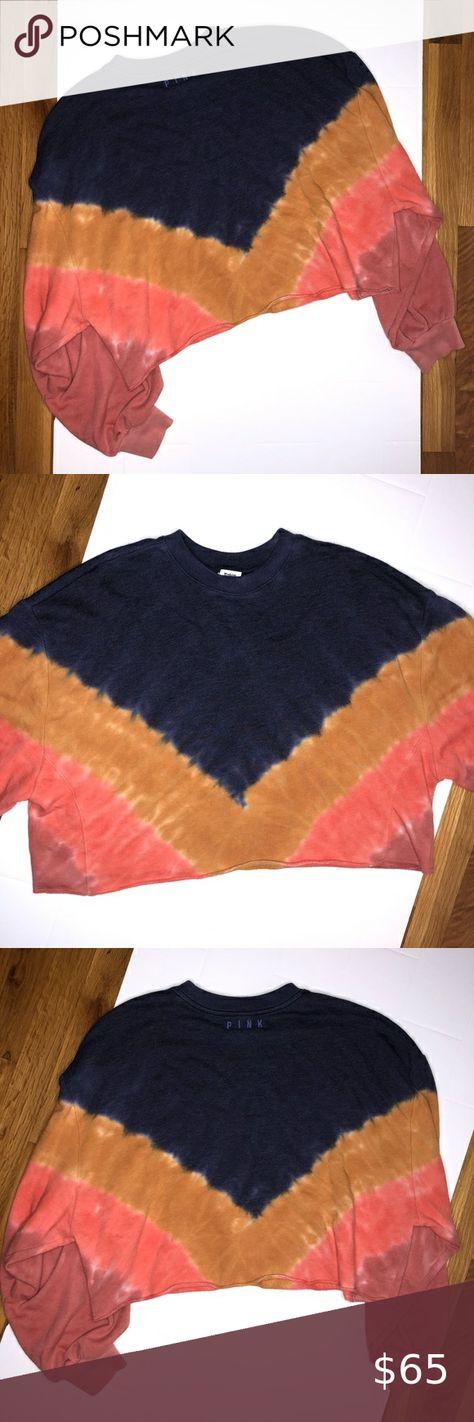 ☾ PINK VS drop shoulder crop crew excellent condition. worn once. sold out color. tie dye. oversized. navy blue, hot pink, mustard & mauve. super soft & comfy.  ♡ S A M E  D A Y  S H I P P I N G { E X C L U D E S  S U N D A Y  &  H O L I D A Y S } ♡ S M O K E  /  P E T  F R E E  H O M E ♡ B U N D L E  &  S A V E ♡ M A K E  A N  O F F E R PINK Victoria's Secret Tops Sweatshirts & Hoodies