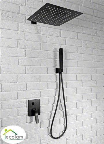 Set Duschsystem Unterputz Regendusche Armatur Brause Black Schwarz