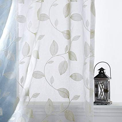 Etry White Leaves Embroidered Sheer Curtains Faux Linen Sheer