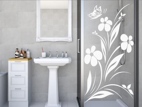 Flower Butterfly Stickers For The Glass Screen Panels And Doors Of