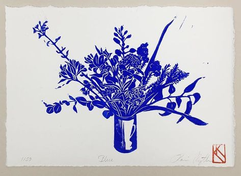 "Just a reminder that my linocut ""Blue"" is included for *free* with all orders until Tuesday next week! (As long as stock lasts) Hope…"