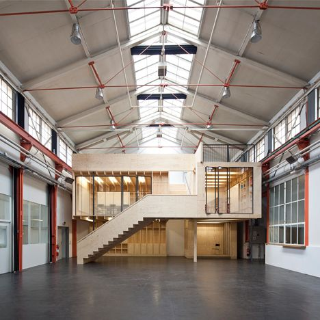 Swiss architecture studio Stereo Architektur has completed its first project: a wooden structure that transforms a former Basel factory into working space