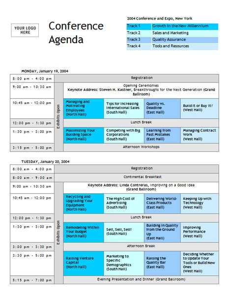 Conference Agenda Template With Tracks - Invitation Templates - conference agenda