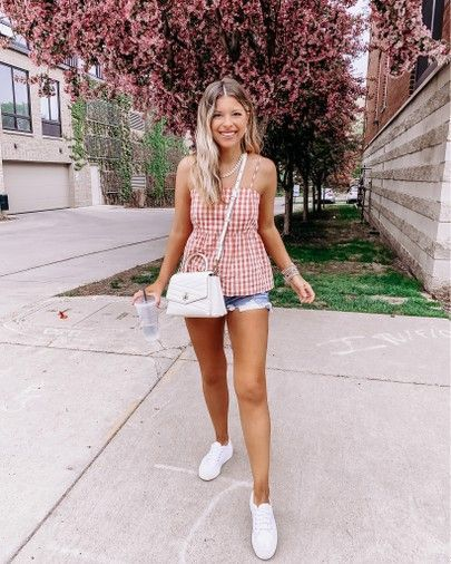Summer blouse denim shorts white sneakers tory burch purse summer outfits In my normal small and 27 Too chilly for a picnic so I decided to wear one ✌🏼🤣🥖🍋🍉 $15 blouse is linked in the @liketoknow.it app & my denim shorts + platform sneaks 👟 are 25% off. Sharing a target haul in stories tonight 💘  ——  #liketkit #LTKsalealert #LTKspring #LTKshoecrush #xomaybabe #targetstyle #gingham #platformsneakers #denimsh
