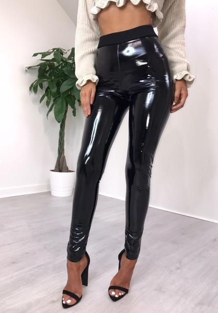 Ladies Women Elasticated High Waist PVC Wet Look Vinyl Shiny Disco Leggings Pant