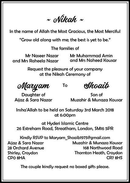 Muslim Wedding Invitation Wordings Ic Card