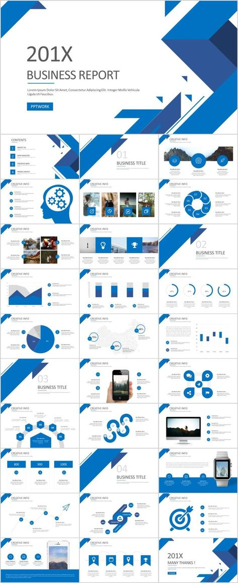 Business Infographic 31 Best Blue Business Report PowerPoint