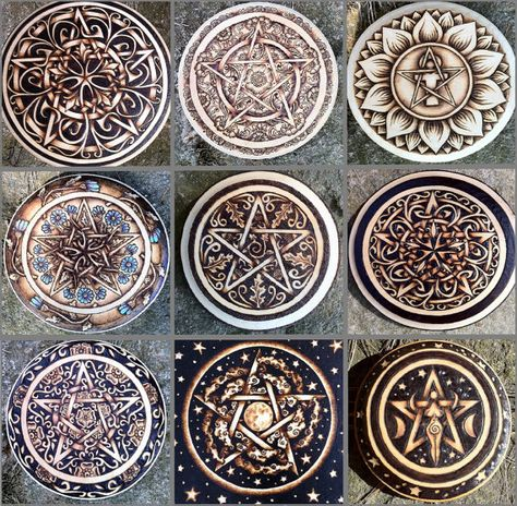 Custom Pentacle DEPOSIT - Completely Hand-Drawn, Hand-burned, One of a Kind Witchcraft Tool