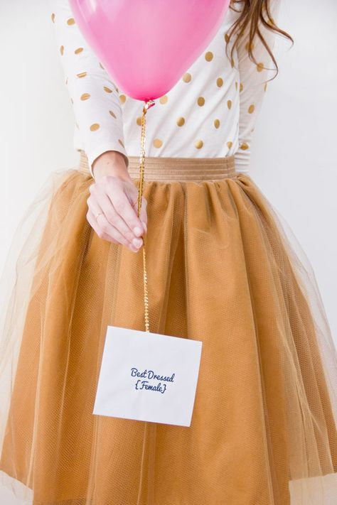"""Gold tulle skirt, pink balloons w/ sequin """"ribbon"""" #DIY #sewing"""