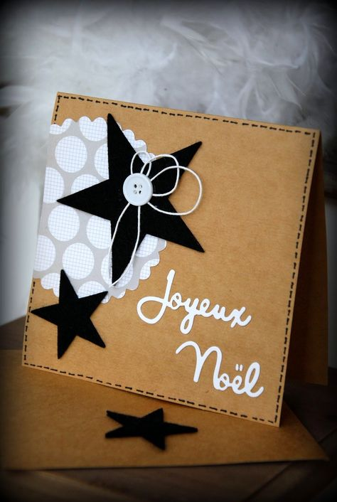 handmade Christmas card from Currants & CO ... square format ... kraft base with black and white die cuts ... French greating ... like how the faux stitching in black holds the one layer card together ...