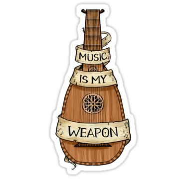 """""""D&D - Bard - Music Is My Weapon"""" Stickers by sheppard56 