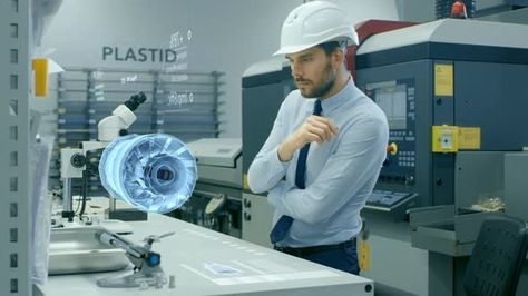 Factory Chief Engineer Works with Holographic Projection 3D Model - chief engineer job description