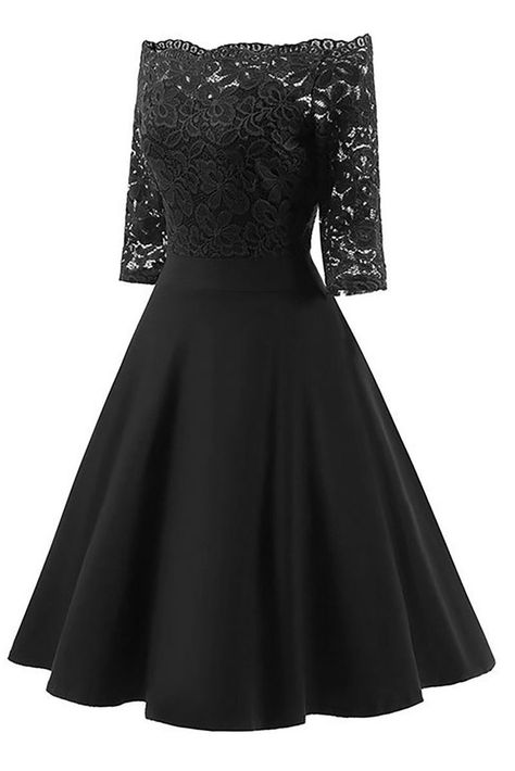 Black V-neck #Lace Sleeve #Homecoming #Dress #foryou. #gown #skirt #falda #ドレス #드레스