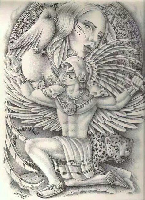 Cool Aztec Warrior Holding Woman Drawing Graffiti Lunatic