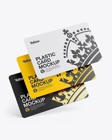 Credit Card Advertising Three Plastic Cards Mockup Present Your