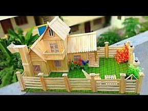 How To Make Popsicle Stick House Popsicle House Building Dream House Youtube Popsicle Stick Houses Popsicle Stick Crafts House Popsicles House