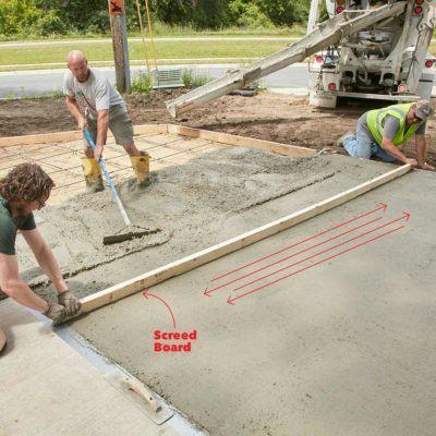 Screed Board Slide Poured Concrete Patio Concrete Slab Diy Concrete Patio