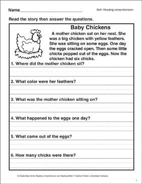 Baby Chickens Reading Comprehension Printable Worksheet