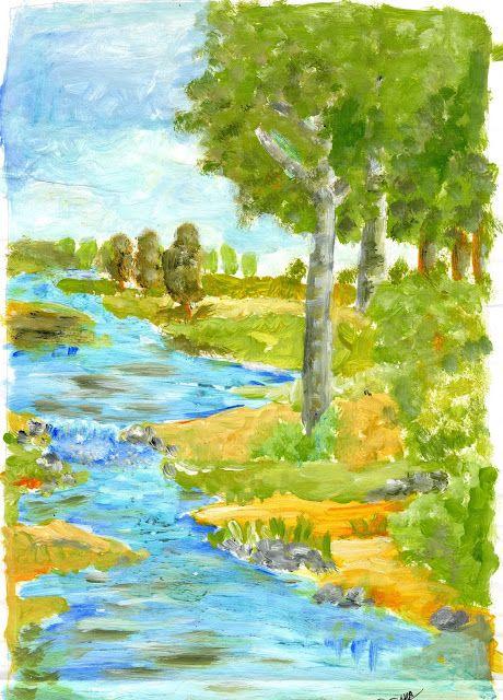 Paisaje Pintado Con Temperas Landscape Paisajes Temperas Dibujos Temperas
