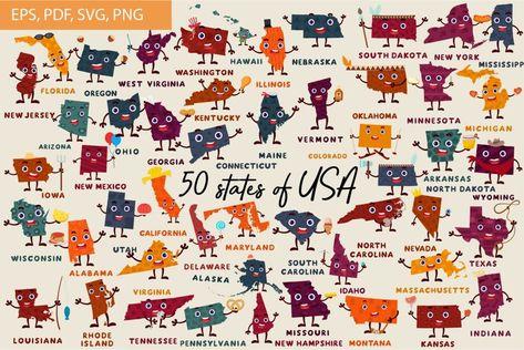 50 states SVG Bundle, United States Clip Art Set (1346310) | Clipart | Design Bundles