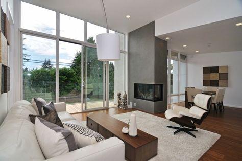 moderne gestaltungstipps für wohnzimmer-eingebauter kamin-gemauert - wohnzimmer modern kamin