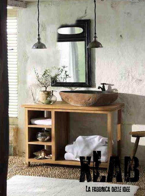 Mobile bagno in legno di larice American style | Sconto online ...