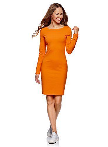 3e3341ac3 oodji Ultra Women's Bodycon Jersey Dress Orange UK 10 / EU 40 / M ...