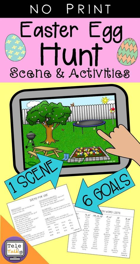 Easter Egg Hunt Scene and Activities for Speech and Language No Print