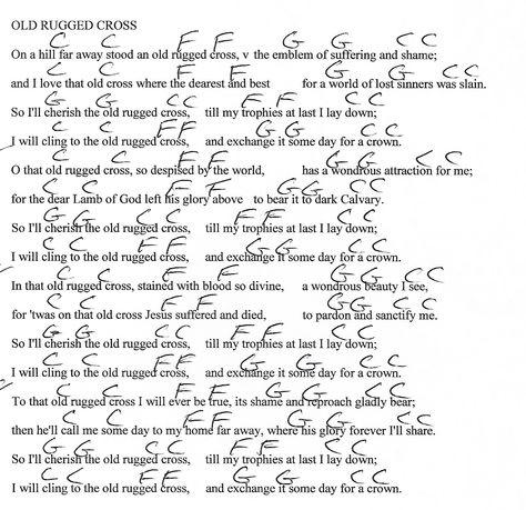 Old Rugged Cross (Hymn) G Major - Guitar Chord Chart with Lyrics ...