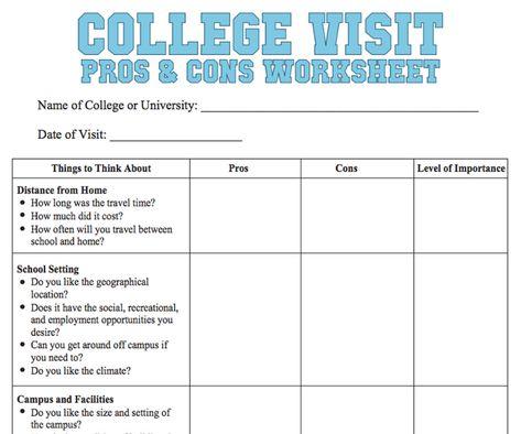 College Visit Checklist Worksheet Online College Degrees Online