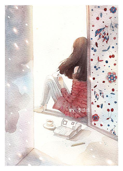 Картинки нарисованные девушки одинокий