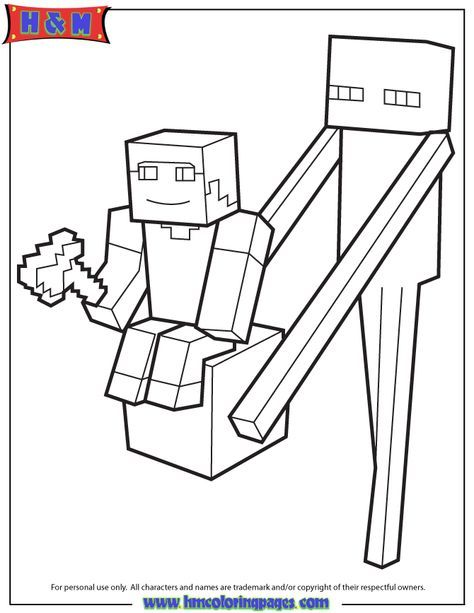 Enderman Holds Block With Steve On Top Coloring Page Minecraft Coloring Pages Lego Coloring Pages Pokemon Coloring Pages