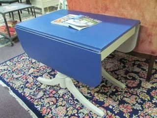 Painted Duncan Phyfe Drop Leaf Dining Table. Blue and White