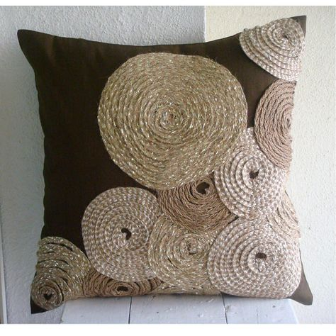 Decorative Throw Pillow Covers 16x16 Silk Jute Embroidered Pillow Covers Accent Pillow Couch Sofa Pillows Brown Pillow Cases Adorned by Jute...