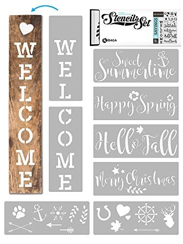 Kibaga Reusable Stencils For Painting On Wood And More Easy Paint Welcome Sign Stencil For Front Door Porch Or In 2020 Sign Stencils Easy Paintings Stencil Painting