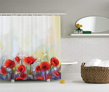 Ambesonne Watercolor Flower Decor Collection Poppies Blossoms