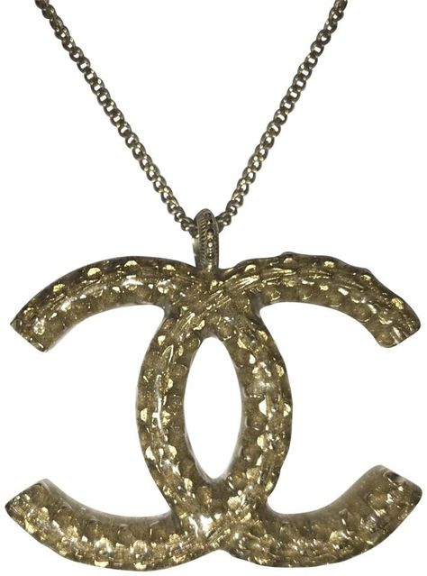 Photo of CHANEL | Gold Xl Cc Logo Interlocking Enamel Pendant 08C Large Studded N