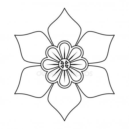 Flower Nature Floral Decoration Cartoon In Black And White Stock
