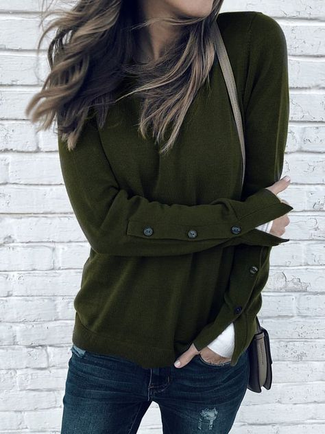 Buy New Women Casual Plus Size Pullover Sweatshirt Loose Round Neck Long Sleeve Blouse Shirt Ladies Solid Color Split Button Sleeves Tops at Wish - Shopping Made Fun