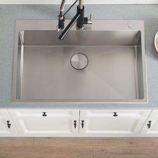 Akdy 32 X 22 Drop In Kitchen Sink With Drain Strainer Wayfair