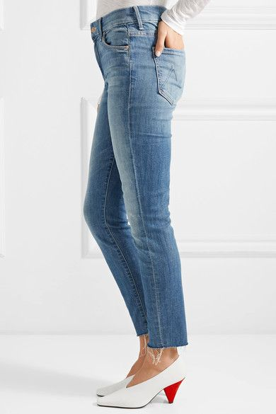Looker Recadrée Effiloché Jeans Skinny Grande Hauteur - Mère Mi Denim Cm9EH