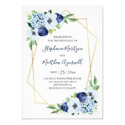 Modern Blue Floral Geometric Wedding Invitation Zazzle Com Geometric Wedding Invitation Watercolor Floral Wedding Invitations Wedding Invitations
